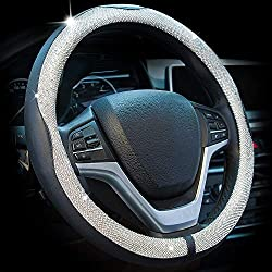 Universal Diamond Crystal Leather Steering Wheel Cover