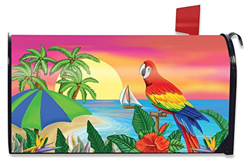 Briarwood Lane Paradise Parrot Summer Mailbox Cover Tropical Island Palms Sailboat Standard (Gardens Store Palm Beach Hardware)