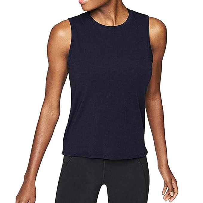 YpingLonk Camiseta sin Mangas para Mujer Deporte Yoga Cuello ...