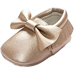 Voberry Baby Boys Girls Soft Soled Tassel Bowknots Crib Shoes PU Moccasins (0~6M, Gold)
