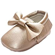 Voberry® Baby Boys Girls Soft soled Tassel Bowknots Crib Shoes PU Moccasins (6~12M, Gold)