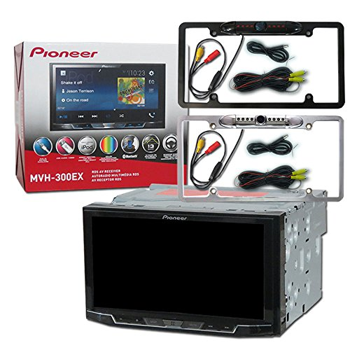 Pioneer Double DIN MVH-300EX 7″ Touchscreen Digital Media stereo with Bluetooth and DCO Full License plate Night vision waterproof back-up camera