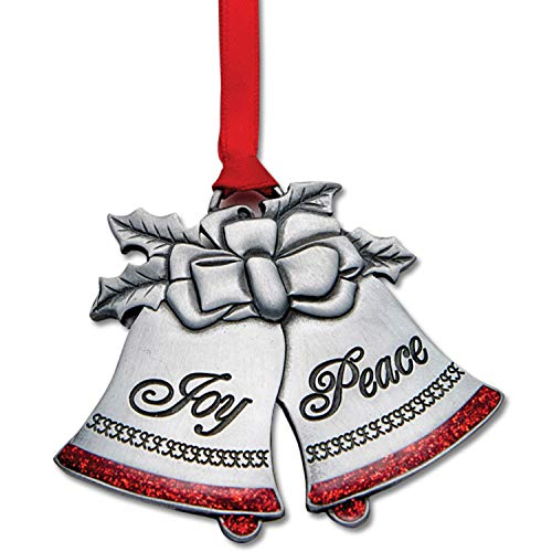 Christian Tools Affirmation Ornament-Joy To The World Bells (Ornaments Of Faith)-Pewter Finish