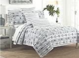 Three (3)-Piece Sigrid Olsen Home Nautical Twill Fish Stripe Reversible Full / Queen Size Quilt and Sham Set