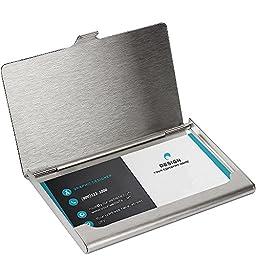 SunplusTrade Professional Business Card Holder Business Card Case Stainless Steel Card Holder Slim Design For Men and Women