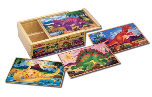 Melissa & Doug Dinosaurs 4-in-1 Wooden Jigsaw Puzzles in a Storage Box (48 pcs) (Triceratops Wood)