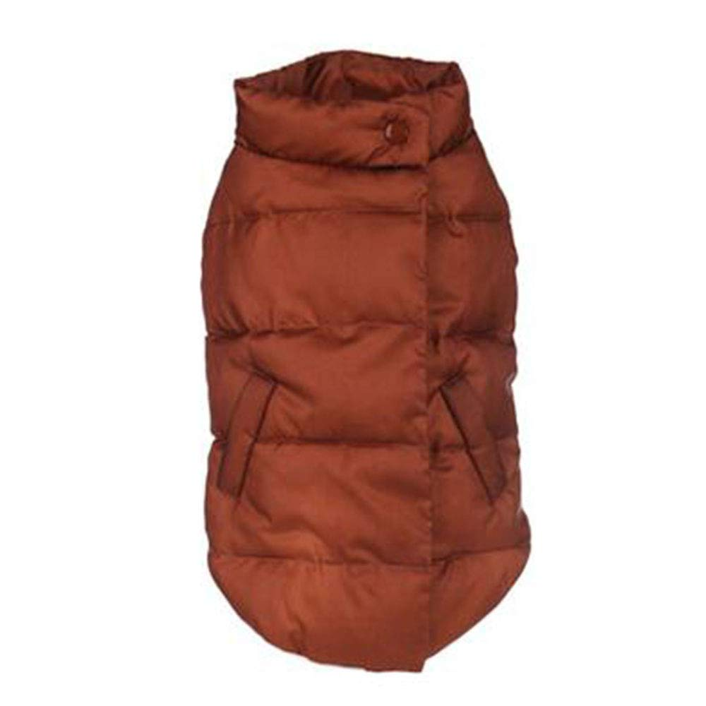 Brown XX-Large Brown XX-Large Puppy Dog Waterproof and Velvet Vest Pet Thickening Winter Clothing Warm and Windproof Outdoor Leisure Jacket, 4 colors, 6 Sizes,Brown-XXL-Chest(23.2in)