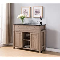 151366 Faux Marble Smart Home Extendable 47.25W - 81W Buffet Table (Dark Taupe)
