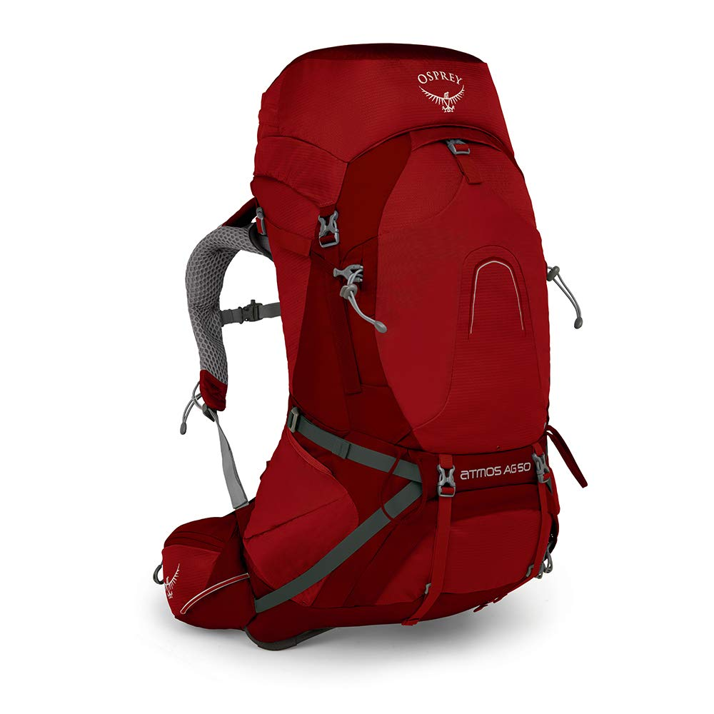 Osprey Packs Atmos Ag 50 Backpacking Pack, Rigby Red, Large