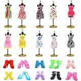 UUsave 10 Pack Doll Dress Party Gown Outfits Doll Clothes for Barbie + 10 Pairs Doll Shoes For Barbie, Girl's Birthday