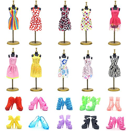 - UUsave 10 Pack Doll Dress +10 Pairs Shoes Party Gown Outfits Doll Clothes Compatible with Barbie(A)