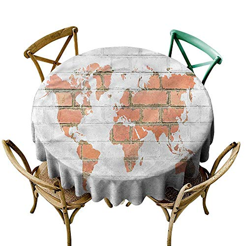 - familytaste Brick Wall,Print Tablecloth Waterproof World Map Tile Design D 36