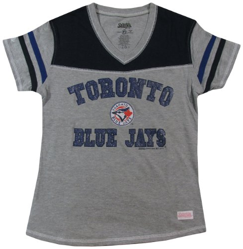 MLB Toronto Blue Jays Girl's V-Neck Jersey Top, Grey, Small