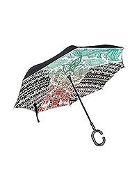 Ladninag Inverted Reverse Umbrella Shamrock Clover Leaf Hat Windproof for Car Rain Outdoor