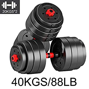 88LB/40KGS Adjustable Weight Dumbbells Set, Barbell Adjustable Gym Equipment for Home Weights, Home Fitness Dumbbell Plates Muscle Body Trainning Exercises