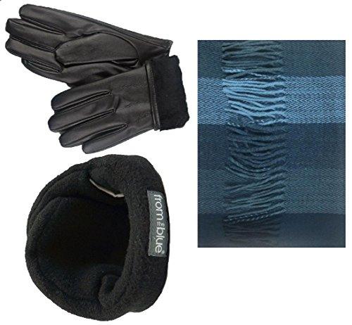 Men's Fur Led Gloves & Soft Cashmere Feel Scarf & 180s From the Blue Adjustable Ear Warmer Set (Medium, Gray Herringbone Stripe) - Herringbone Stripe Scarf