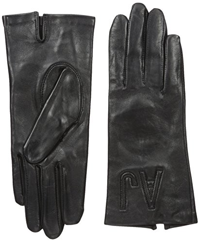 Armani Jeans Women's Embroidered Leather Gloves, Twilight Blue, Medium/III