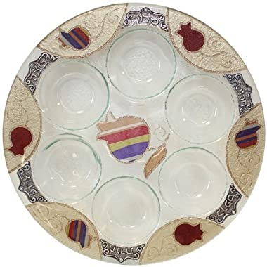 Glass Round Seder Plate in Purple Pomegranate Theme