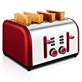 4-Slice Toaster, TOBOX Stainless Steel Toaster 4 Wide Slots with 7 Bread Browning Settings, REHEAT/DEFROST/CANCEL Function, 1400W, Red