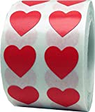 InStockLabels Heart Stickers 1/2 Inch 1,000 Adhesive Stickers, Red