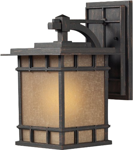Elk 45011/1 9 by 15-Inch Newlton 1-Light Outdoor Wall Sconce with Linen Glass Shade, Weathered Charcoal Finish ()