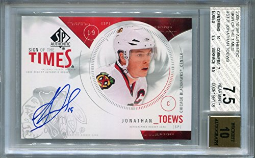 (Jonathan Toews Chicago Blackhawks BGS Certified Autograph - 2009 Upper Deck SP Authentic (Autographed Hockey Cards))