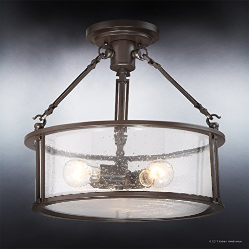 Luxury Industrial Semi-Flush Ceiling Light, Medium Size: 14.25''H x 16''W, with Western Style Elements, Rectangular Link Design, Elegant Estate Bronze Finish and Seeded Glass, UQL2133 by Urban Ambiance by Urban Ambiance (Image #2)