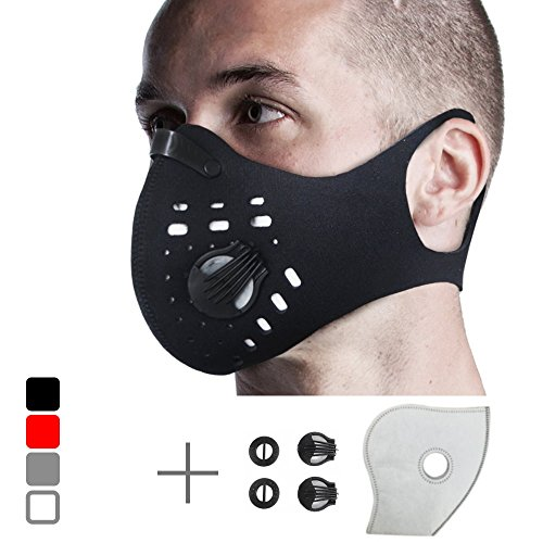 Anti Pollution Dust Mask with 1 Extra Activated Carbon N99 Filter and 2 Valves. Filtration of Exhaust Gas Pollen Allergy PM2.5 Training Face Mask for Outdoor Activities by FIGHTECH (BLACK) from FIGHTECH