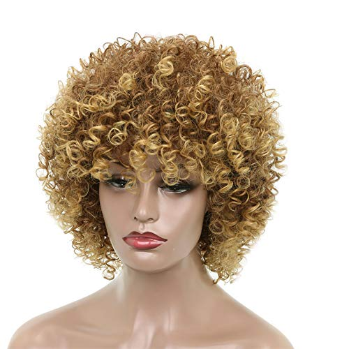 (MERISIHAIR Afro Curly Brown Blonde Mixed Synthetic Wigs Heat Resistant Hair Wigs for Black Women Female for Daily Use 14
