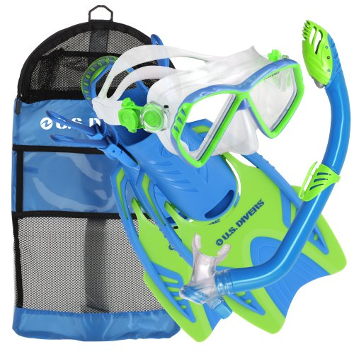 - U.S. Divers Junior Regal Mask, Trigger Fins and Laguna Snorkel Combo Set, Fun Blue, Small/Medium
