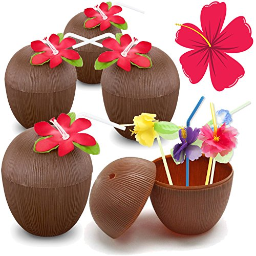 Plastic Coconut Cups For Fun Hawaiian Luau Children's Parties – Bulk 12 Pack – Comes With Straw And Flower – Tiki And Beach Theme Party Supplies (1 Dozen) - Coconut Shell Cups