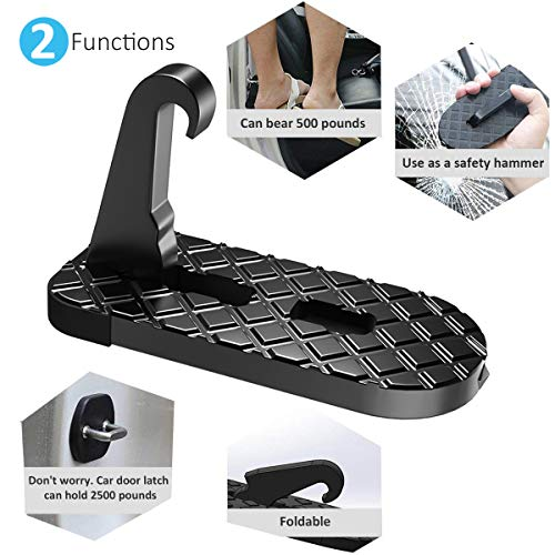 a8f1231c17 Giwil Car Doorstep Vehicle Folding Ladder, Car Folding Doorstep Foot Pegs  with Safety Hammer Function Rooftop Doorstep Easy Access To Car Roof for  Car Jeep ...