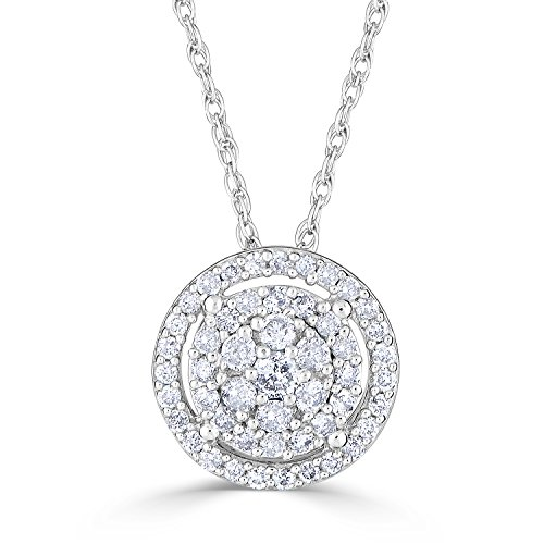 Diamond Halo Necklace in Rhodium Plated Sterling Silver 1/2 cttw