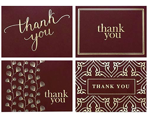 100 Thank You Cards Bulk - Thank You Notes, Maroon Red & Gold - Blank Note Cards with Envelopes - Perfect for Business, Wedding, Graduation, Bridal and Baby Shower - 4x6 Photo Size (red) ()