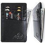 Lethnic Men's Minimalist RFID Front Pocket Slim Wallet - Business Card Holder Wallet - Safe Wallet for Travel - Best Gift for Men - Genuine Leather (Black)