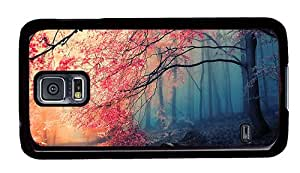 Sale Samsung i9600 retro covers Beautiful autumn tree red leaves in the forest PC Black for Samsung S5,Samsung Galaxy S5,Samsung i9600