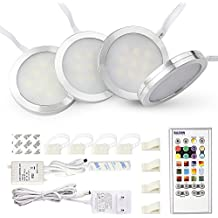 Bason Lighting Under Cabinet Lighting Kit, Aluminum shell, RGB + White Color Change Led Puck Lights for Kitchen Shelf Decoration,Color DIY Timing Fuction with Remote Control