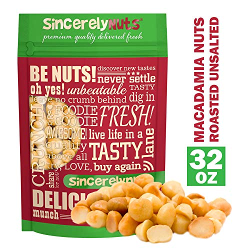 Sincerely Nuts Macadamia Nuts Roasted & Unsalted (2lb bag) - Nutty & Delicious Snack Food | Tons of Health Benefits | Kosher, Vegan, Gluten Free | Keto & Paleo Diet Friendly