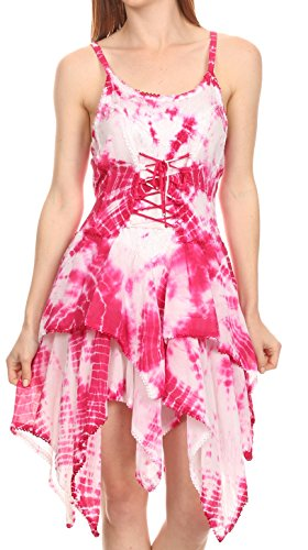Sakkas 16244 - Paige Mid Length Handkerchief Tank Top Spaghetti Strap Dress With Tie Dye - Pink - OSP