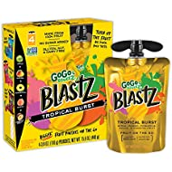 GoGo squeeZ BlastZ Fruit Pouches on the Go, Tropical Burst, 3.88 Ounce (24 Pouches), Gluten Free, Vegan Friendly, Unsweetened, Recloseable, BPA Free Pouches (Packaging May Vary)