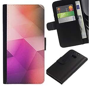 For HTC One M8,S-type® Polygon Art Peach Purple Pattern Pastel - Dibujo PU billetera de cuero Funda Case Caso de la piel de la bolsa protectora