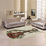 Love Nature Sweet Home Modern Collection Custom Guitar Area Rug 7'x5' Indoor Soft Carpet