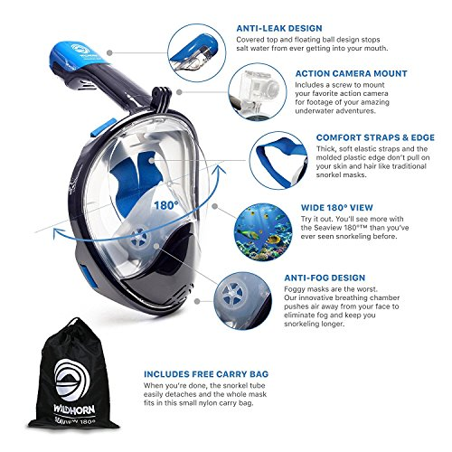 WildHorn Outfitters Seaview 180 Degree Panoramic Snorkel Mask- Full Face...