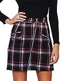 Simplee Women's Elegant Plaid Tweed High Waist Zipper Front A Line Mini Skirt