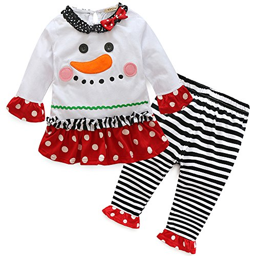 xirubaby Cute Baby Infant Girls Christmas Outfit Snowman Toddler Kids Long Sleeves Winter Fall Clothing Set. (80(12-18 Months), White)]()