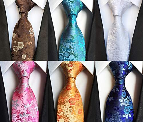 Lot 6 pcs Classic Mens Tie Silk Necktie Woven Jackquard Neck Ties + Gift Box Style 04