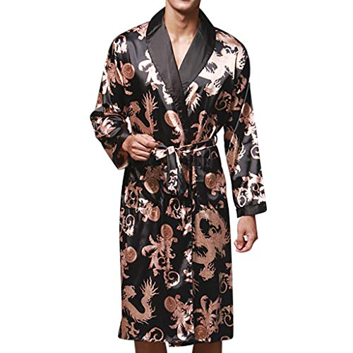 - Men Plus Size Bathrobe Simulation Silk Print Sleepwear Robe Pajamas Lingerie Robe with Belt Dressing Gown Black