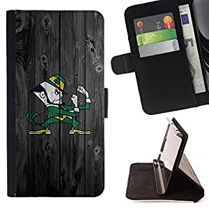 BullDog Case - FOR/Apple Iphone 6 / - / Notre Dame Fighting Team /- Monedero de cuero de la PU Llevar cubierta de la caja con el ID Credit Card Slots Flip funda de cuer