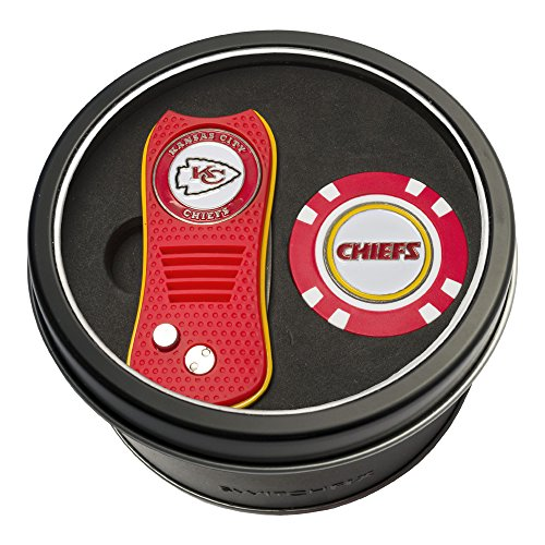 Team Golf NFL Kansas City Chiefs Gift Set Switchblade Divot Tool & Chip, Includes 2 Double-Sided Enamel Ball Markers, Patented Design, Less Damage to Greens, Switchblade Mechanism ()