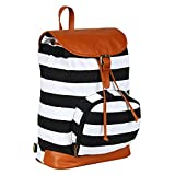 Lychee Bags Women's Black, White Canvas Delicia Backpack (LB27BLKW)